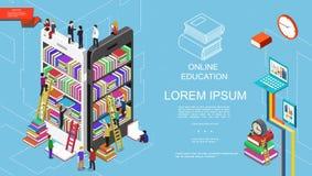 Éducation et concept en ligne isométriques d'étude illustration libre de droits