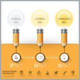 Éducation et crayon d'étude avec le diagramme Infog d'étape d'ampoule illustration libre de droits