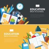 Éducation et de nouveau à la conception plate de concept de bannière d'école illustration stock