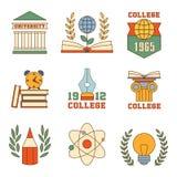 Éducation et ensemble d'université de vecteur d'icônes Photo stock