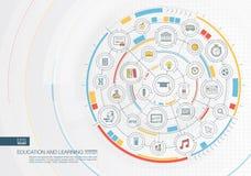 Éducation et fond abstraits d'étude Digital relient le système aux cercles intégrés, icônes plates de couleur Photo libre de droits