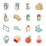 Éducation et icônes 3d isométriques d'école Image libre de droits