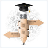 Éducation et Infographic d'étude avec le crayon en spirale Elem de flèche Photographie stock
