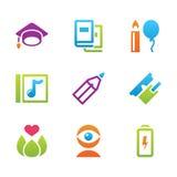 Éducation et science réglées d'icône Images libres de droits