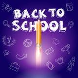 Éducation futée De nouveau à l'école avec les icônes tirées par la main d'éducation Lancement de bateau de Rocket avec le crayon  Photos stock
