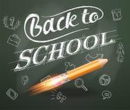 Éducation futée De nouveau à l'école avec les icônes tirées par la main d'éducation Lancement de bateau de Rocket avec le crayon  Image stock