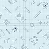 Éducation Modèle sans couture avec des fournitures scolaires sur la feuille de papier illustration de vecteur