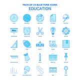 Éducation Tone Icon Pack bleue - 25 ensembles d'icône illustration stock