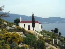 Église, île de Megisti, Grèce Photo stock