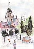 Église antique dans le jour d'hiver de Vilnius illustration stock