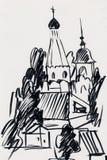 Église antique en ville illustration libre de droits