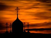 Église au coucher du soleil photo libre de droits