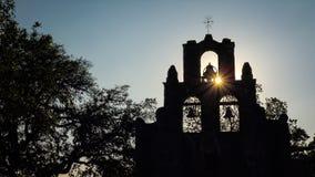 Église Bells espagnole d'Espada de mission à San Antonio, le Texas Photographie stock