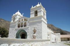 Église blanche au Pérou Images libres de droits