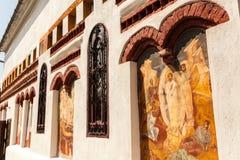 Église Brancoveanu - mur extérieur Images stock