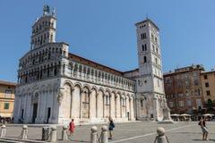 Église célèbre et belle San Michele in foro à Lucques image libre de droits