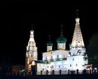 Église chrétienne d'ortodox antique pendant la nuit Image stock