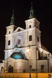 Église collégiale de St Florian dans la partie historique de Cracovie la nuit Photographie stock libre de droits