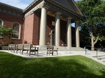 Église commémorative, yard de Harvard, Université d'Harvard, Cambridge, le Massachusetts, Etats-Unis Photos libres de droits