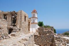 Église d'Agia Zoni, île de Tilos Photo stock