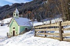 Église d'Antholz Obertal en hiver photo stock