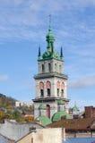 Église d'hypothèse, tour Kornyakta, Lviv Images libres de droits