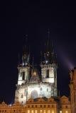 Église d'Iluminated à Prague Images stock