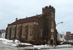 Église dans la neige Image stock