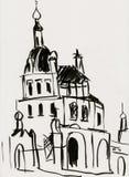 Église dans un monastère femelle illustration stock