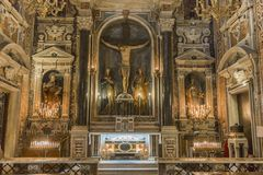 Église de Barroco du Gesu Nuovo, Naples, Italie images libres de droits