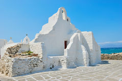 Église de blanc de Mykonos Images stock