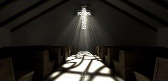 Église de crucifix de fenêtre en verre teinté Photos stock