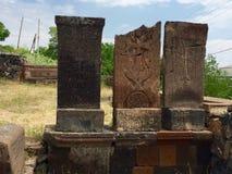 Église de Karmravor, Arménie, Khachkars Photos libres de droits