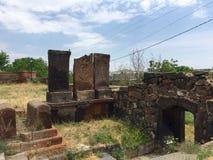 Église de Karmravor, Arménie, Khachkars Photos stock