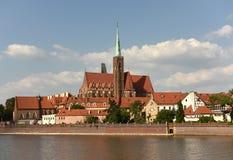Église de la croix et de St Bartholomew saints à Wroclaw, Pologne photographie stock
