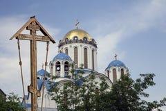 Église de la protection de la mère de Dieu chez Yasenevo, Moscou, Russie Photos stock