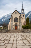 Église de rue Michel, Chamonix, France Images stock