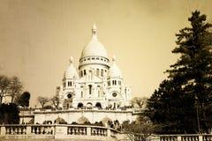 Église de Sacre-Coeur de vintage dans Montmartre Photo libre de droits