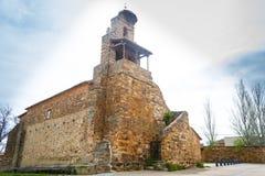 Église de San Esteban dans la petite hameau rurale de Murias de Rechivaldo photo libre de droits