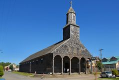Église de Santa Maria de Loreto, Achao, Chili photos libres de droits