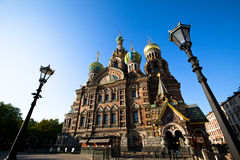 Église de sauveur sur le sang renversé à St Petersburg, Russie Photo libre de droits