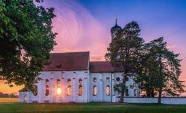 Église de St Coloman au coucher du soleil, Bavière, Allemagne Photos libres de droits