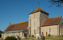 Église de St Margarets, Rottingdean, le Sussex, Angleterre image libre de droits