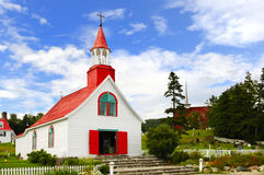 Église de village de Tadoussac Photos libres de droits