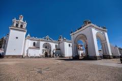 Église de ville de Copacabana, Bolivie Images libres de droits
