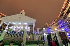 Église de Xinjie dans le réveillon de Noël Photos stock
