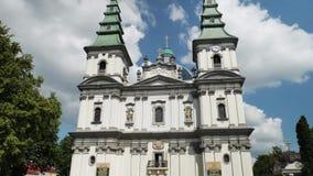 Église dominicaine, cathédrale de conception impeccable de mère sainte de Dieu dans Ternopil, Ukraine 19-07-2018 banque de vidéos