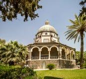 Église du bâti des béatitudes, mer de la Galilée en Israël Photographie stock