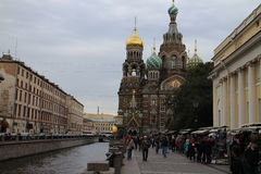 Église du sauveur sur le sang près du canal de Griboyedov dans le St Petersbourg Image libre de droits