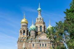 Église du sauveur sur le sang renversé dans le St Petersbourg, Russie image libre de droits
